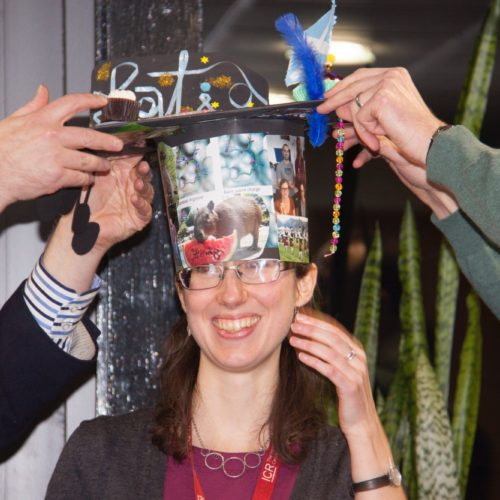 Celebrating Katie's PhD: while the rest of us got the hat size wrong, Katie did a much better job at defending her thesis.