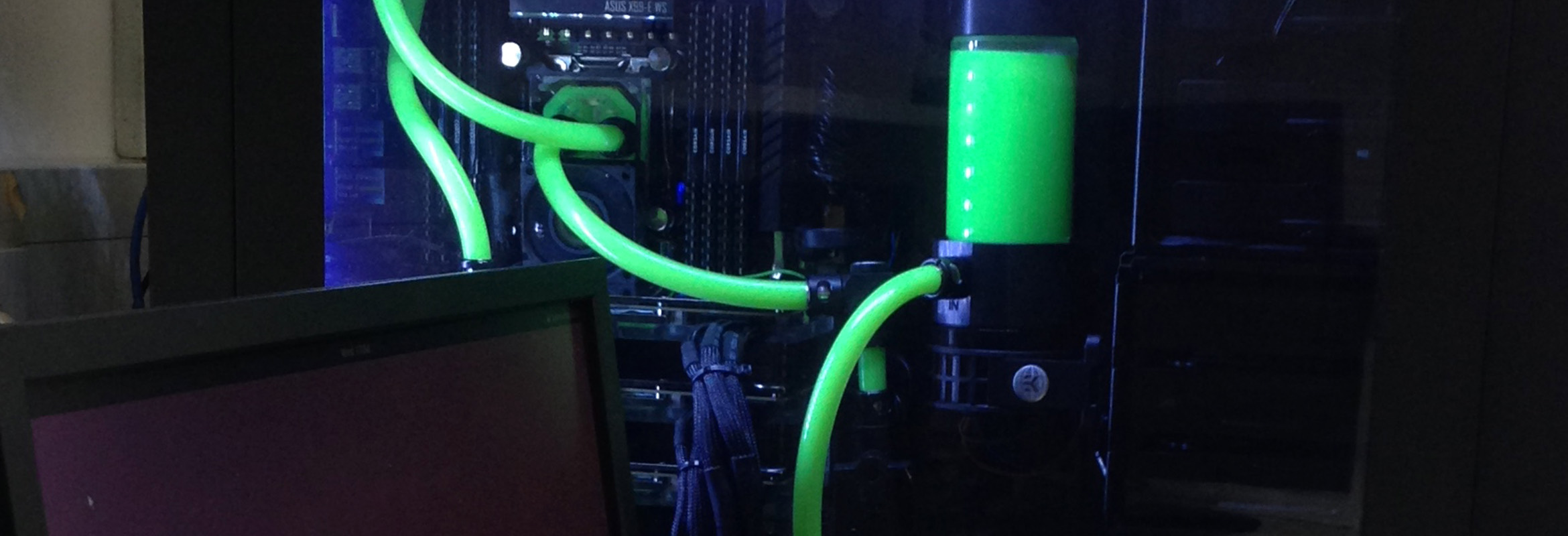 A GPU system for our cryo-EM work: of course the coolant had to be green.